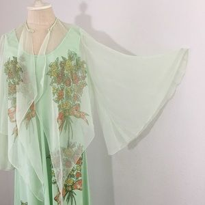 Vintage 1970's Maxi Dress with Sheer Jacket Size L